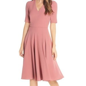 Gal meets glam Edith pink crepe midi dress size 8
